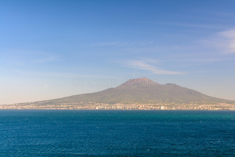 Panoramic view with sea and mount Vesuvius. Napoli (Naples) and royalty free stock images