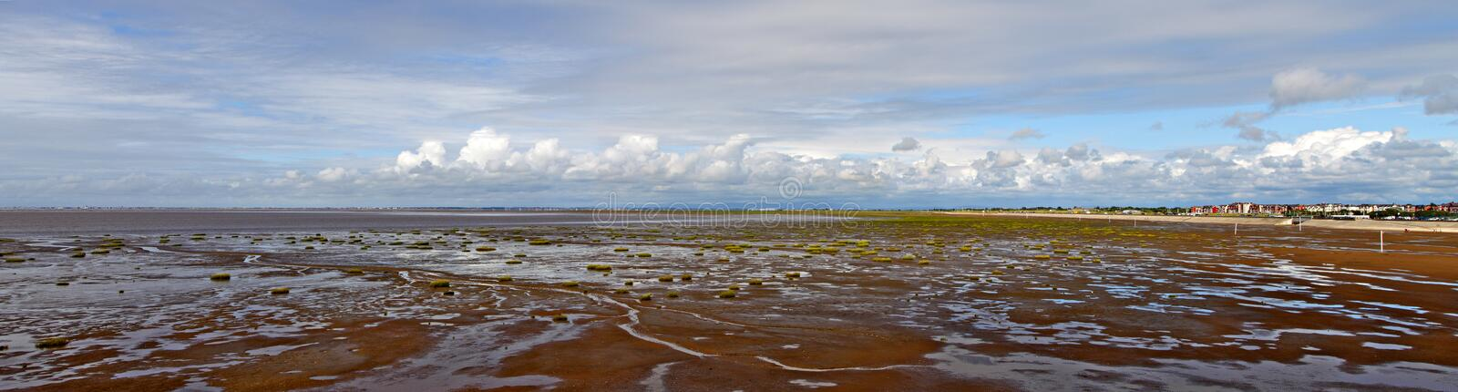 Panoramic view on the sea tide. stock images