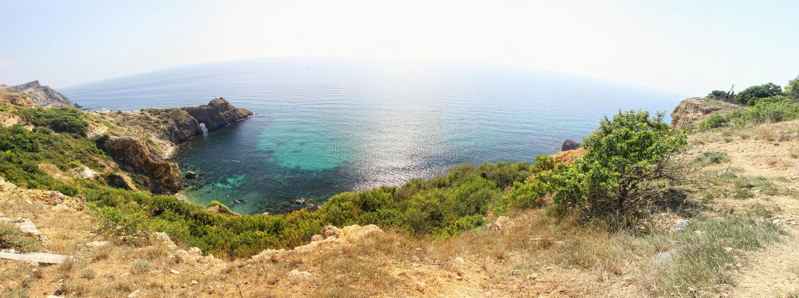 Panoramic view of seacoast near Fiolent cape, Crimea, Ukraine. Panoramic summer view of Black sea coast near Fiolent cape, Crimea peninsula, Ukraine stock images