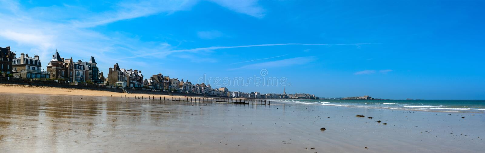Panorama on the seafront of Saint Malo in Brittany, France royalty free stock photos