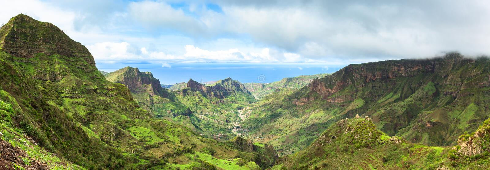 Panoramic view of Serra Malagueta mountains in Santiago Island. Serra Malagueta mountains in Santiago Island Cape Verde - Cabo Verde royalty free stock photo