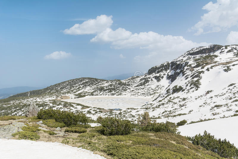 Panoramic view of the Seven Rila Lakes in Rila mountain,Bulgaria. The Seven Rila Lakes are a group of lakes of glacial origin in Rila Mountain in Bulgaria. They royalty free stock images