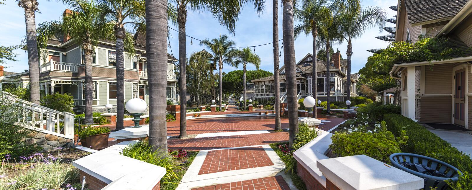 Panoramic View of Heritage Square in Oxnard, California. A panoramic view of several historic homes at Heritage Square in Oxnard, California stock photos