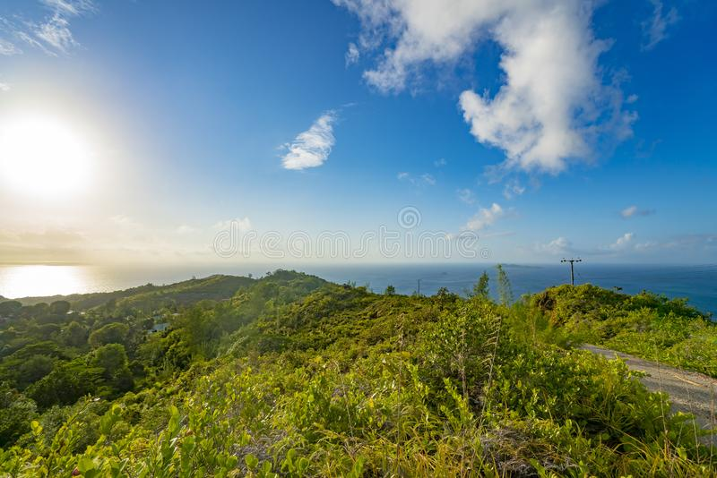 Panoramic view on seychelles islands from  mountain,  Seychelles royalty free stock photography
