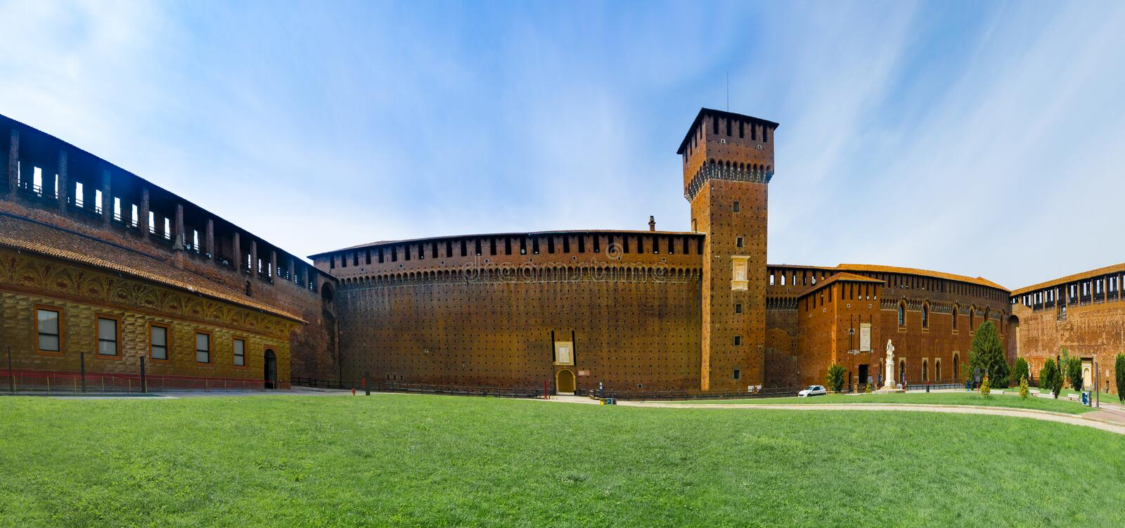 Panoramic view of Sforza Castle stock photography