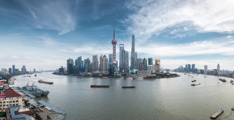A panoramic view of shanghai skyline royalty free stock photos