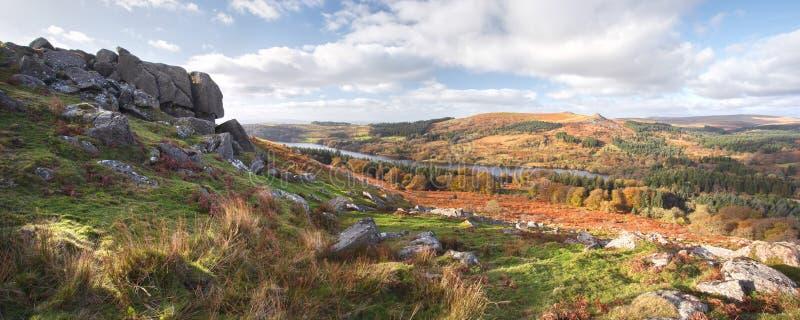 Panoramic view from sheepstor dartmoor devon uk royalty free stock photo