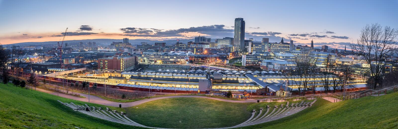 Panoramic view of Sheffield royalty free stock photography