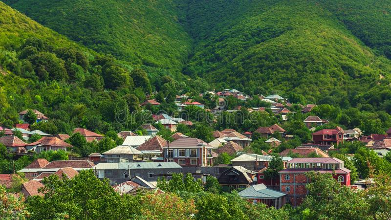 Panoramic view of Sheki city, located on the green slope of mountain royalty free stock photos