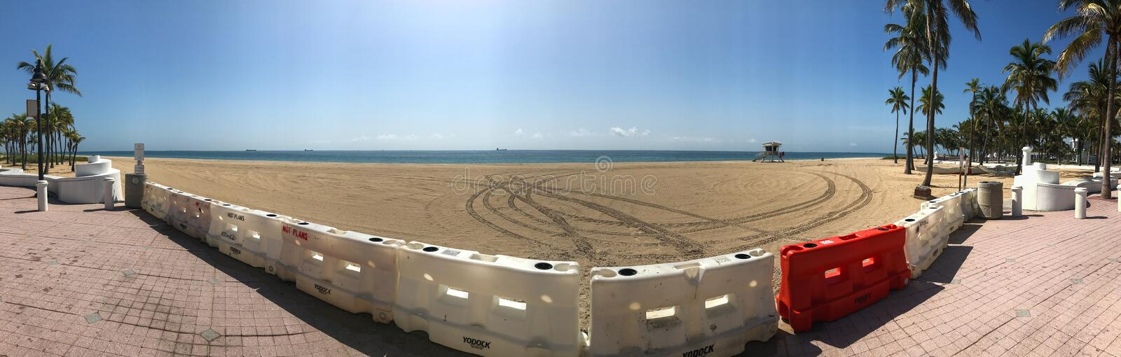 Panoramic View Shots Barricades Blocking Entrance To Beach During Pandemic stock photography