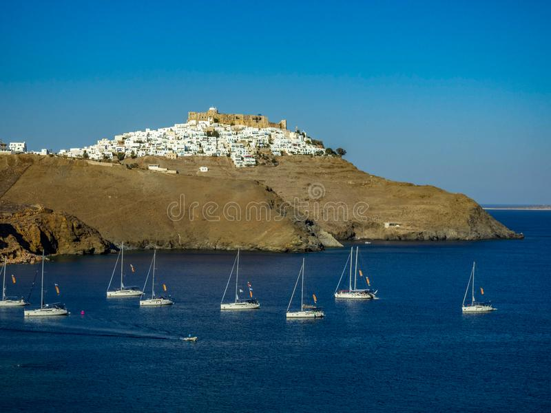 A panoramic view from the side of Chora ,Astypapaia Greece stock photography