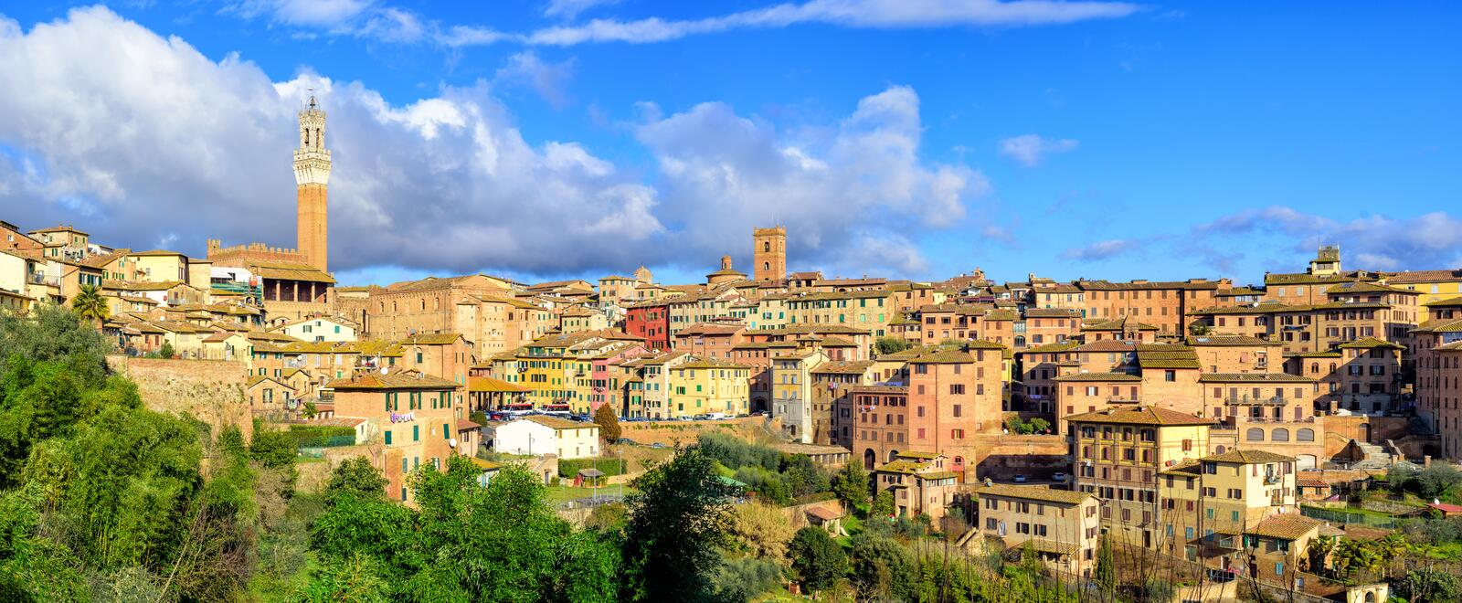 Panoramic view of Siena Old Town, Tuscany, Italy stock photos