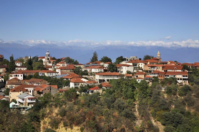 Panoramic view of Sighnaghi. Kakheti. Georgia royalty free stock image
