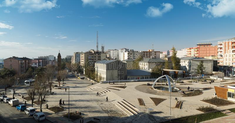 Panoramic view of the Siirt city square. Panoramic view of the city square of Siirt - Turkey stock photography