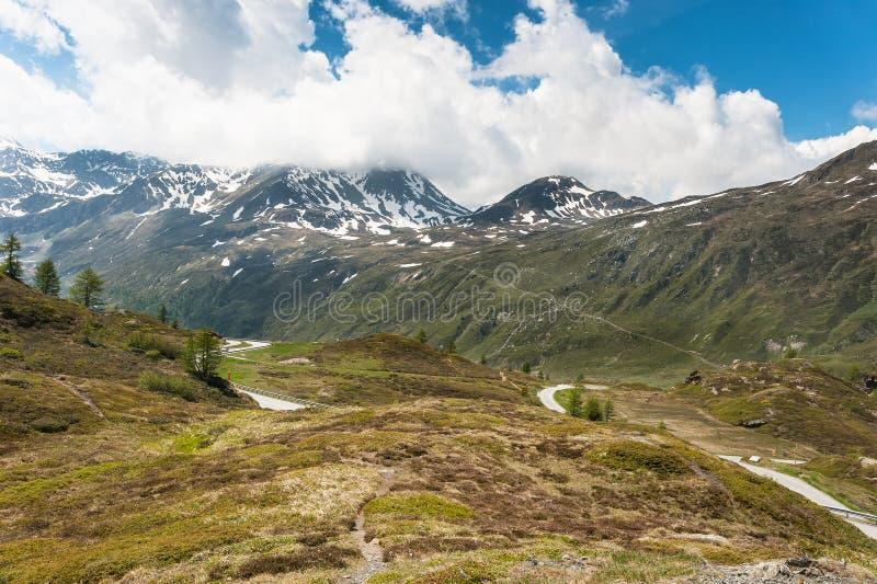 Panoramic view on Simplon Pass stock photo