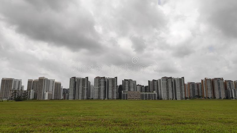 Panoramic view of Singapore Public Housing Apartments in Punggol District. Singapore royalty free stock images