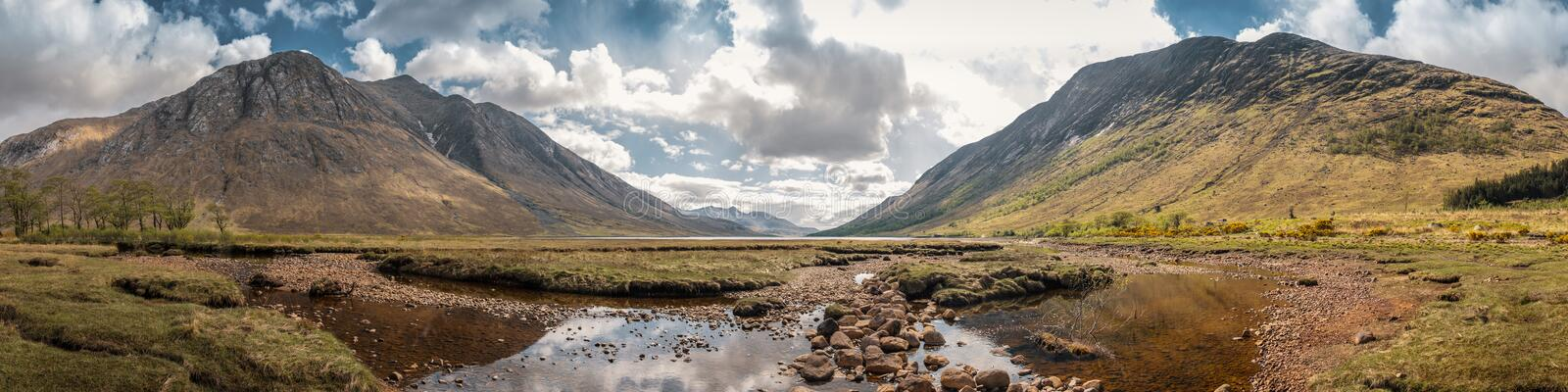 Panoramic view of Loch Etive in the highlands of Scotland royalty free stock images