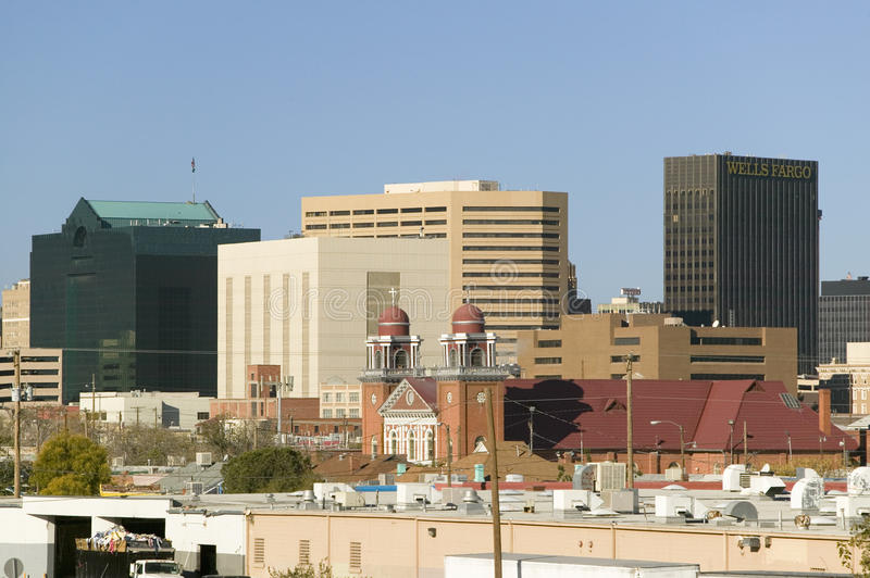 Panoramic view of skyline and downtown El Paso Texas, border town to Juarez, Mexico royalty free stock photography