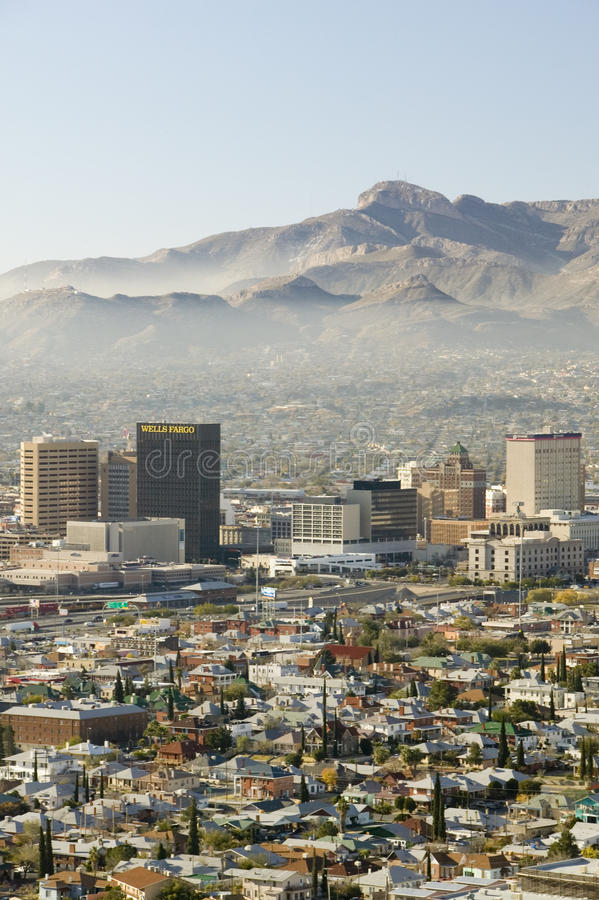 Panoramic view of skyline and downtown El Paso Texas looking toward Juarez, Mexico stock photo