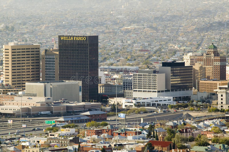 Panoramic view of skyline and downtown El Paso Texas looking toward Juarez, Mexico royalty free stock photos