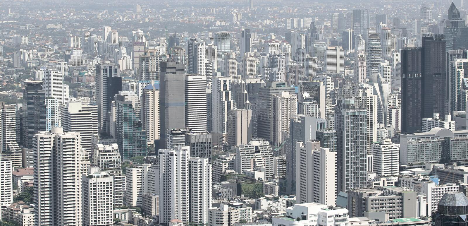Panoramic view of skyscrapers in Bangkok modern city buildings stock photography