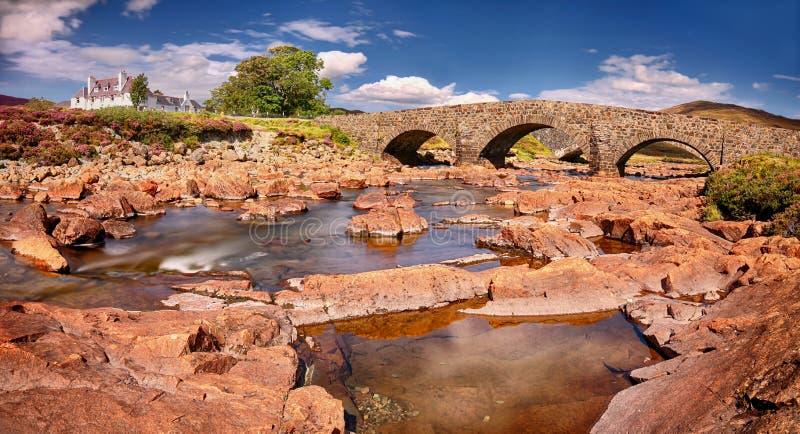 Panoramic view of the Sligachan Bridge (Isle of Skye, Scotland). Long time exposure royalty free stock photo