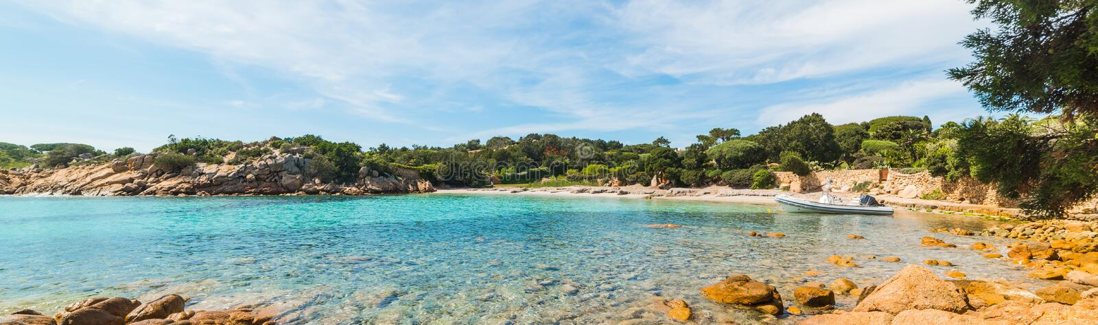 Panoramic view of a small cove in Sardinia. Italy royalty free stock photography