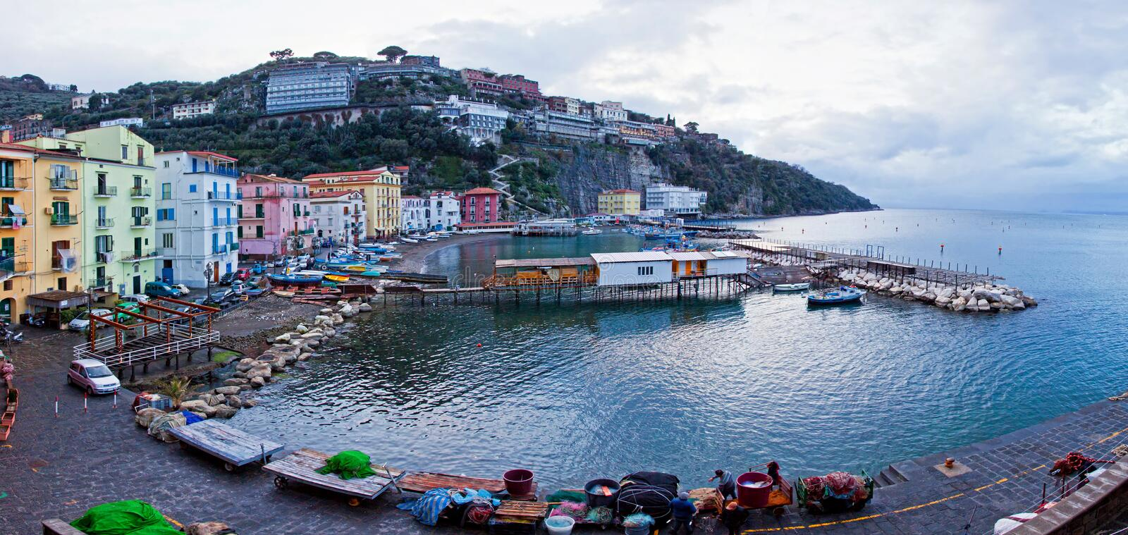 Panoramic view of small harbour in Sorrento, Italy stock photography