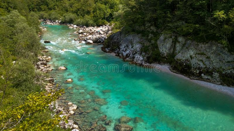 Panoramic view of Soca river in the Julian Alps in northwestern Slovenia stock image