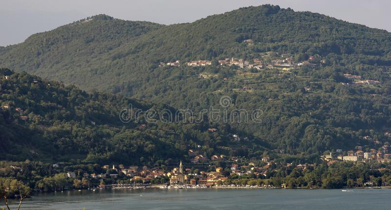 Panoramic view of Solcio di Lesa, Novara, Italy, on the shore of Lake Maggiore royalty free stock images