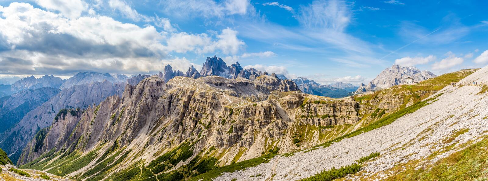 Panoramic view from South side Tre Cime di Lavaredo in South Tirol of Dolomites - Italy stock image