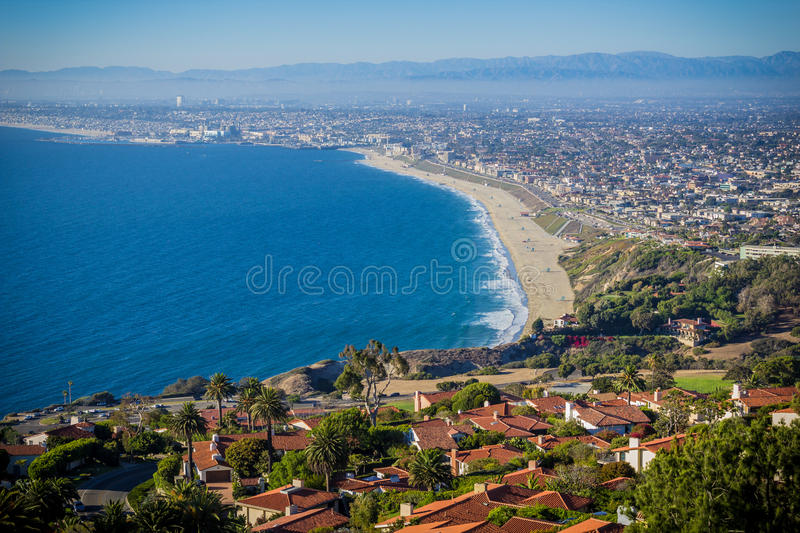 Panoramic View of Southern California Pacific Coast Highway Shore. Southern California`s Palos Verdes Estates, an affluent community with brick rooftop luxury royalty free stock images