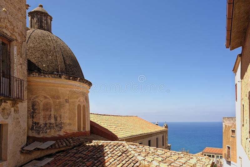 Panoramic view of the southern Tyrrhenian Sea from the main square of the belvedere hillside village stock photography