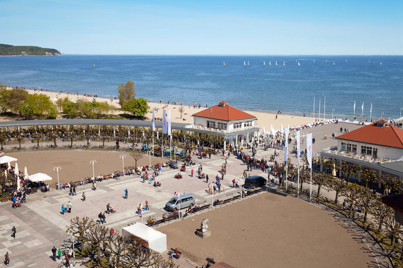 Panoramic view of spa resort on Baltic sea beach royalty free stock photography
