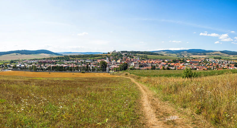 Panoramic view of Spisske Podhradie town, Slovakia. Panorama of Spisske Podhradie town, Slovakia. View from Spis Castle (Spissky Hrad stock photo