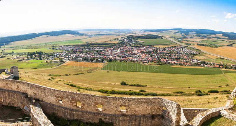 Panoramic view of Spisske Podhradie town, Slovakia. Panorama of Spisske Podhradie town, Slovakia. View from Spis Castle (Spissky Hrad royalty free stock photos