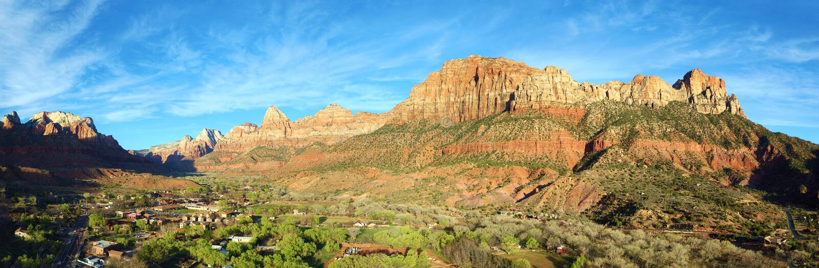 Panoramic View of Springdale, Utah by Zion National Park. Springdale is a town in Washington County, Utah, United States. The population was 529 at the 2010 royalty free stock photo