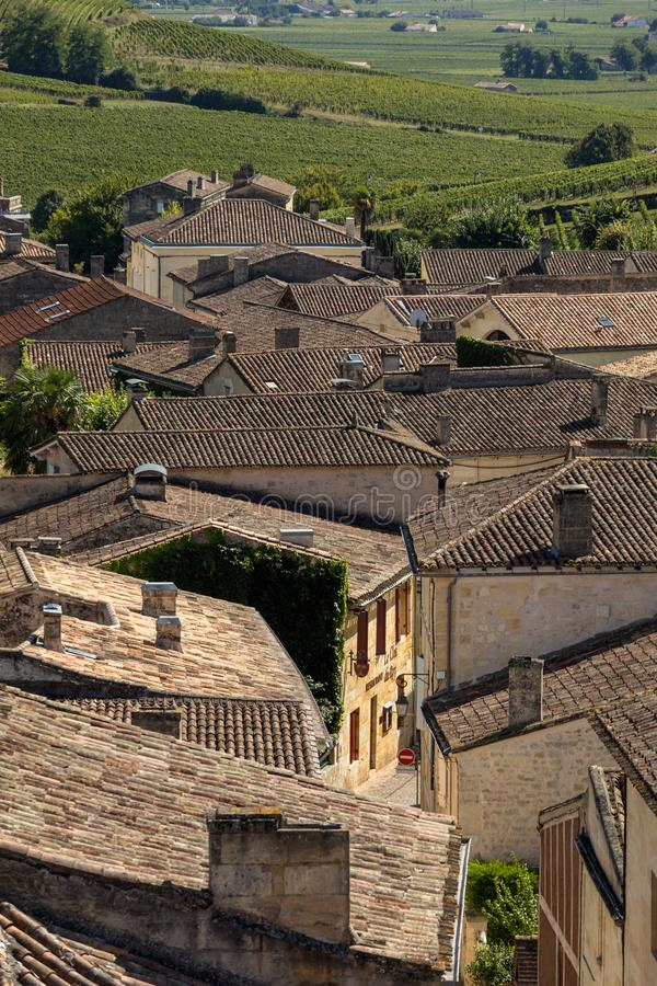 Panoramic view of St Emilion, France. St Emilion is one of the principal red wine areas of Bordeaux and very popular tourist desti stock photography