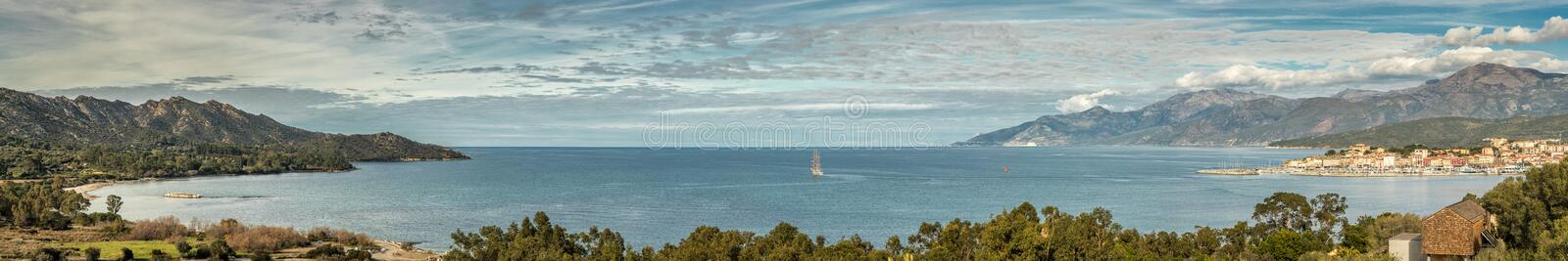 Panoramic view of St Florent bay in Corsica stock images
