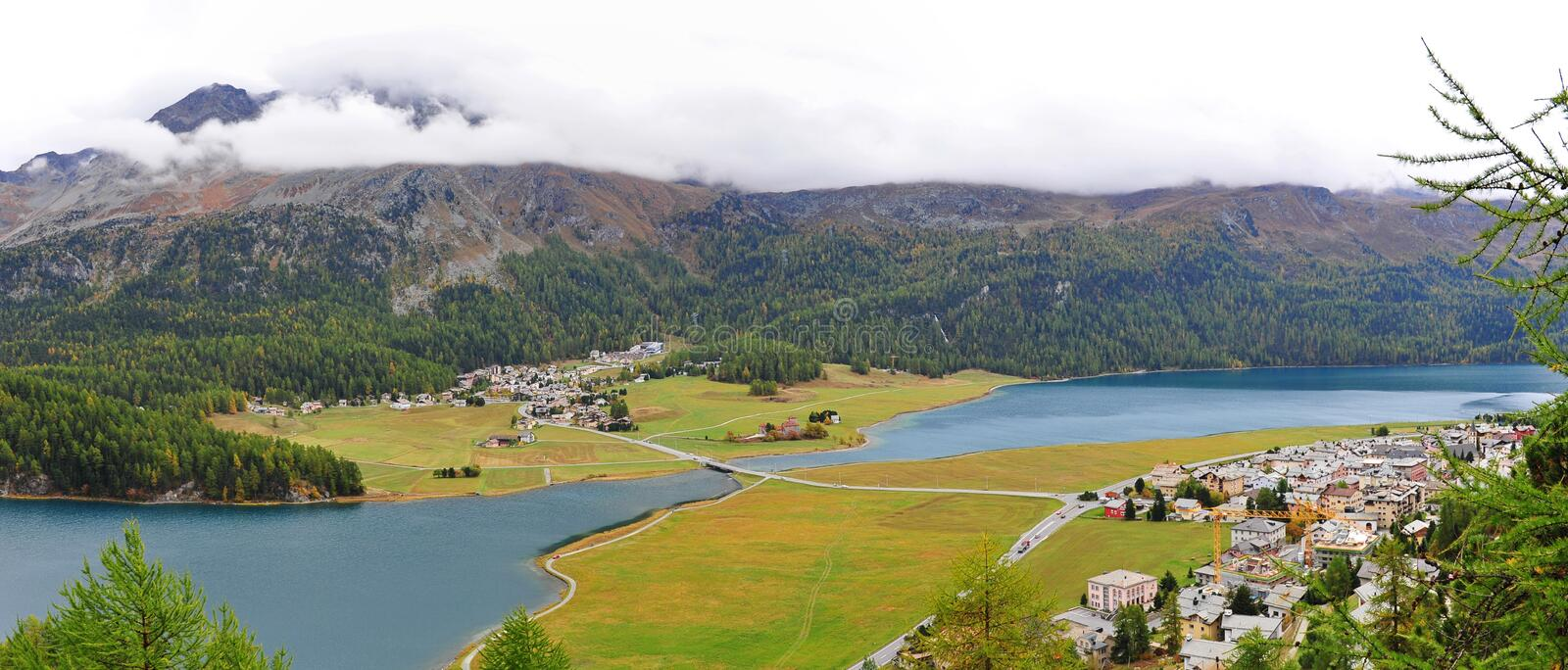 Panoramic view of St Moritz Valley in Switzerland. Aerial view of St Moritz valley in Switzerland royalty free stock photos