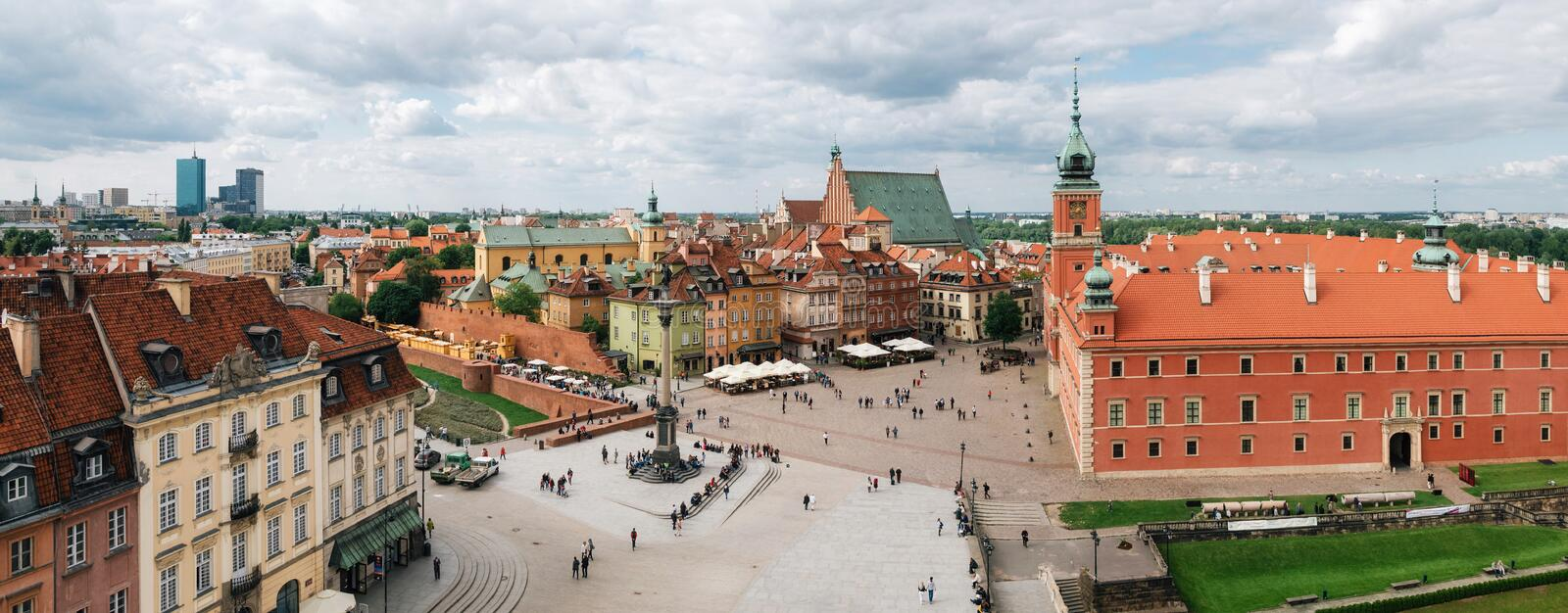 Panoramic view of Stare Miasto in Warsaw Old town, Poland stock images