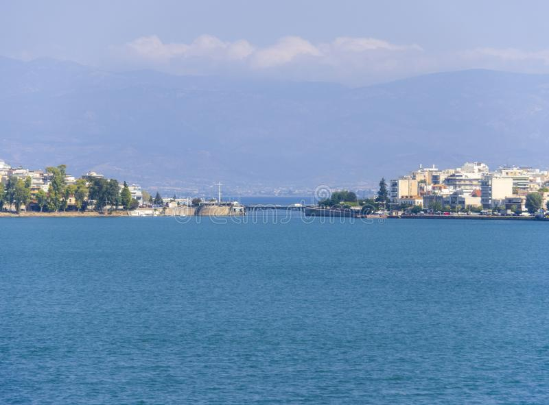 Panoramic view of the Strait of Euripides and the Old bridge connecting mainland Greece and the island of Evia royalty free stock image