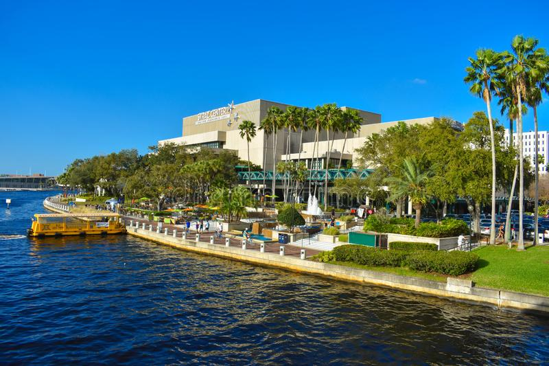 Panoramic view of Straz Center, water taxi on Hillsborough river in downtown area. Tampa Bay, Florida. March 02, 2019. Panoramic view of Straz Center, water stock images