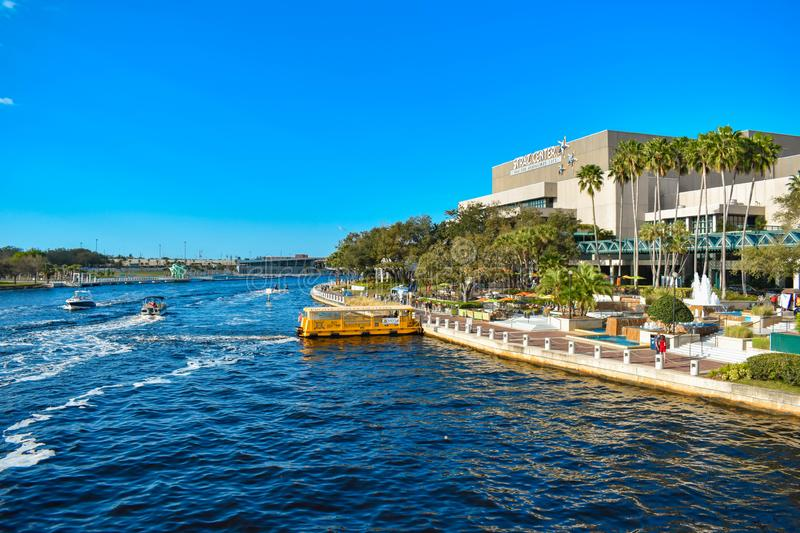 Panoramic view of Straz Center and water taxi on Hillsborough river in downtown area 44 stock images