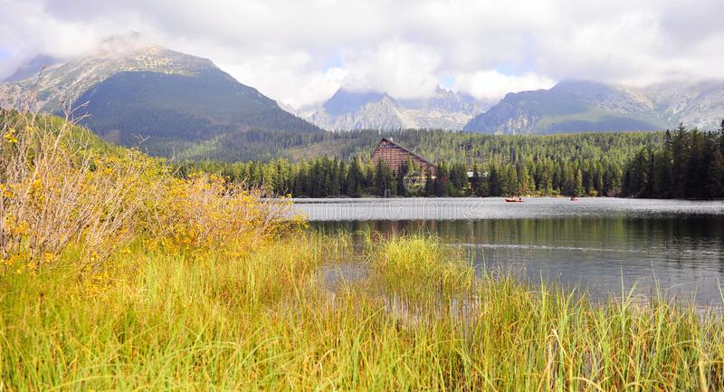 Panoramic view of Strbske pleso in High Tatras royalty free stock images