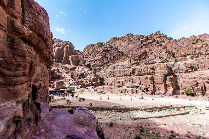 Panoramic view of `The Street of Facades`, Petra royalty free stock photo