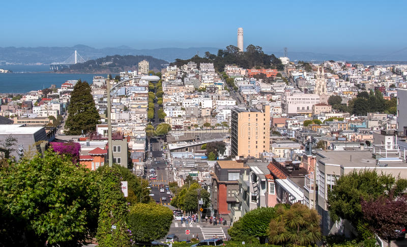 Panoramic view of the streets of San Francisco and Coit Tower, California USA stock image
