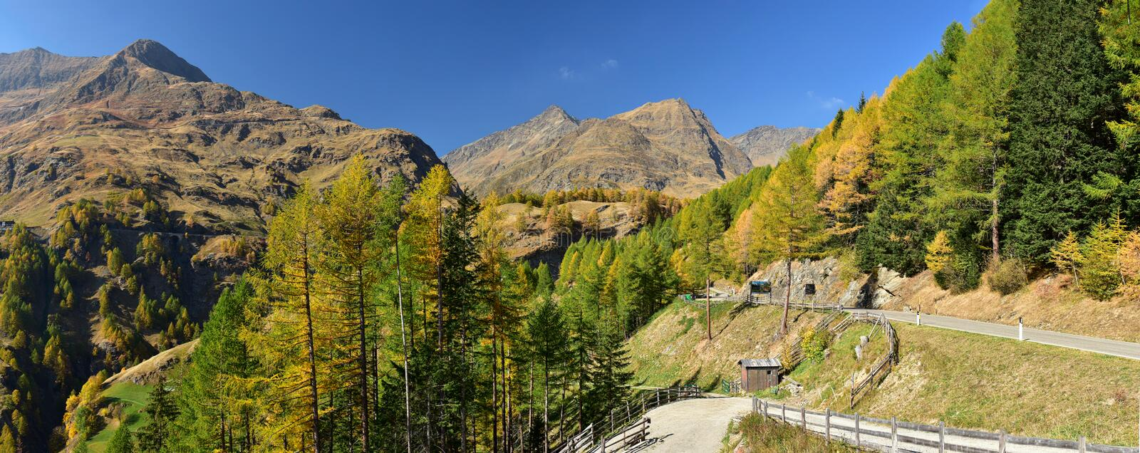 Panoramic view of the Stubai Alps from Timmelsjoch high alpine road. South Tyrol, Italy royalty free stock images