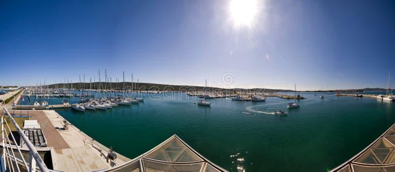 Panoramic view of the Sukosan marina stock photography
