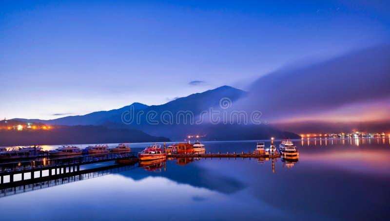 Sun Moon Lake, Nantou, Taiwan. Panoramic view of Sun Moon Lake in Taiwan. A view over the harbor and mountain Taiwan Tourism Holy Land. One of alpine lakes royalty free stock image
